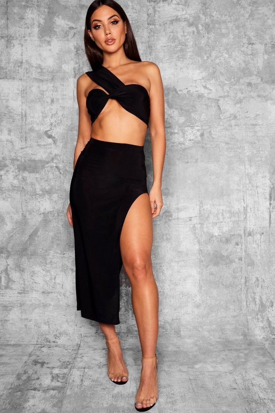 Womens Black Slinky Thigh Split Midaxi Skirt