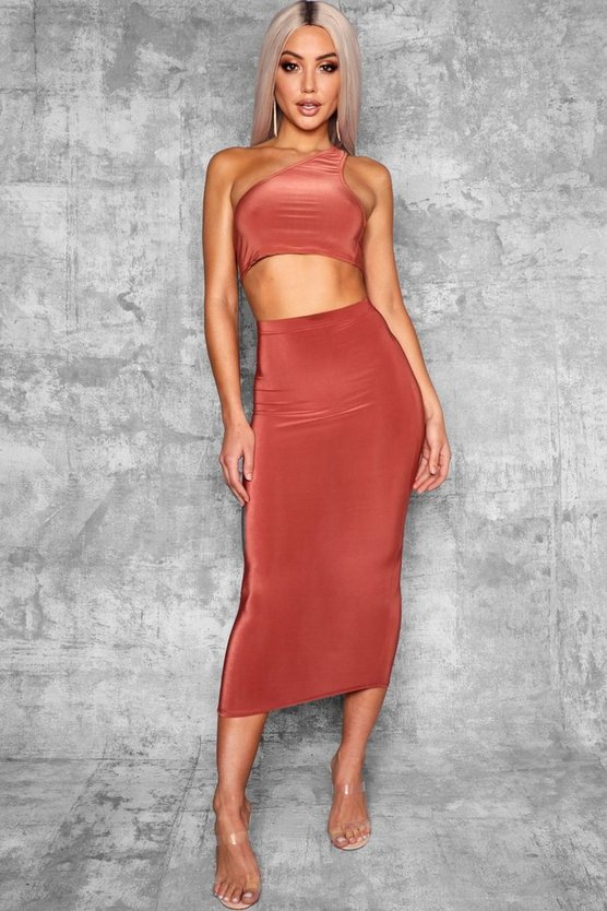 Terracotta Basic High Waist Slinky Fitted Midaxi Skirt