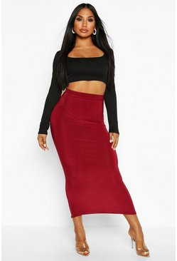 Berry Basic High Waist Slinky Fitted Midaxi Skirt