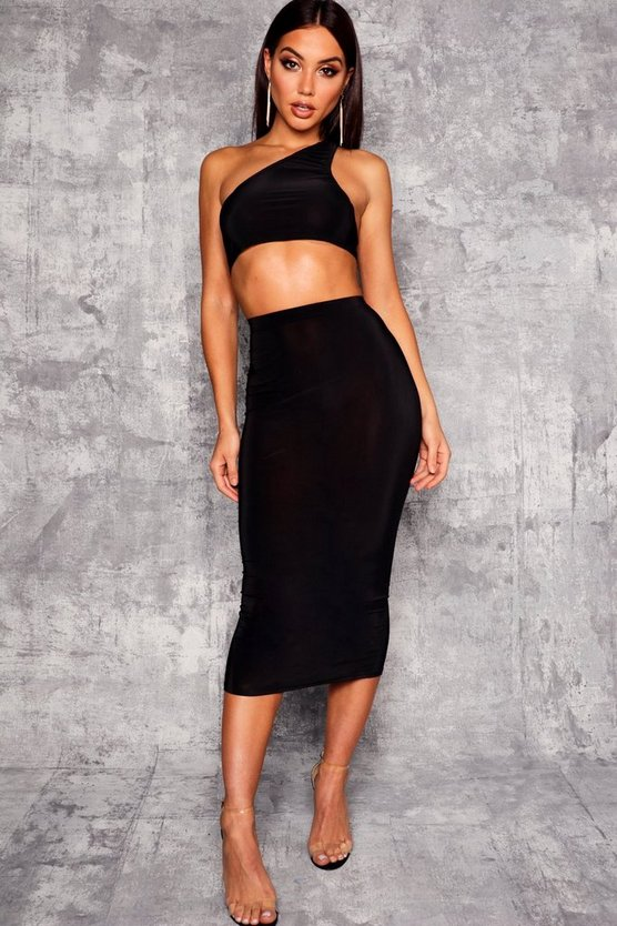 Womens Black Basic High Waist Slinky Fitted Midaxi Skirt