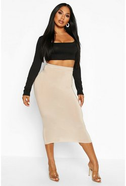Womens Sand Basic High Waist Slinky Fitted Midaxi Skirt
