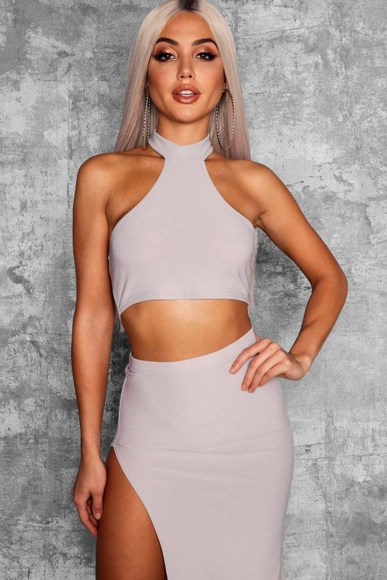 High Neck Racer Crop Top