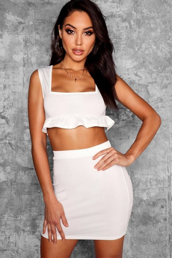 Joanna Square Neck Frill Hem Crop Top
