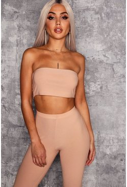 Womens Stone Bandeau Crop Top