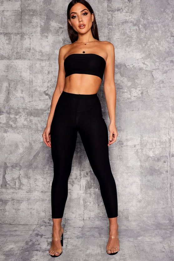 Womens Black Basic High Waist Skinny Trouser