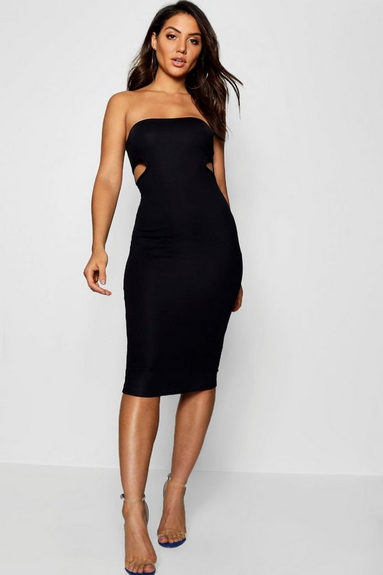 Bandeau Cut Out Side Detail Midi Dress