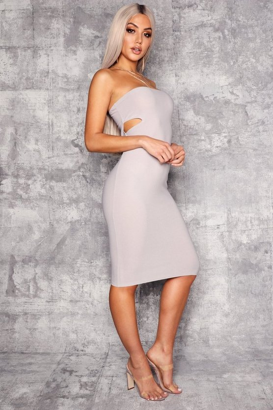 Womens Grey Bandeau Cut Out Side Detail Midi Dress
