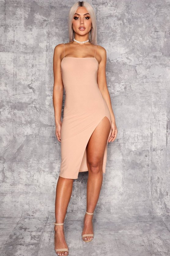 Womens Stone Strappy Square Neck Thigh Split Midi Dress