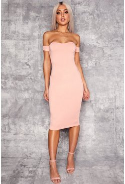 Womens Blush Off Shoulder Curved Neckline Midi Dress