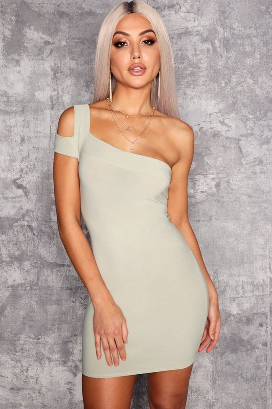 Womens Sage Cold Shoulder Bodycon Dress