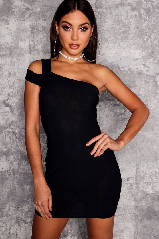 Womens Black Cold Shoulder Bodycon Dress