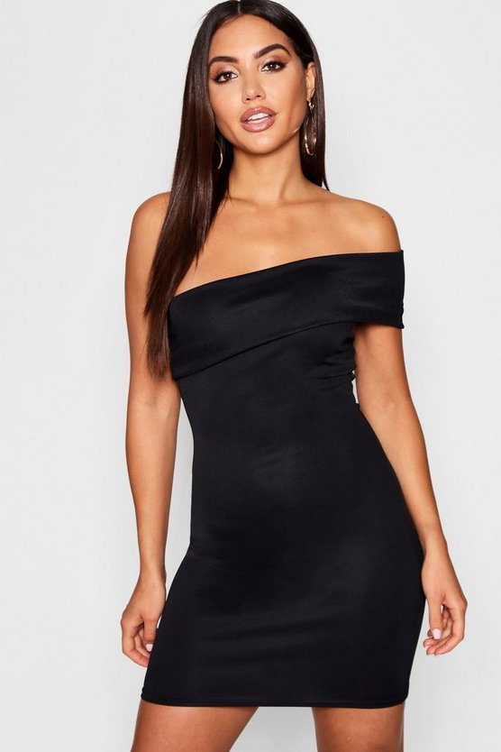 One Shoulder Folded Detail Bodycon Dress