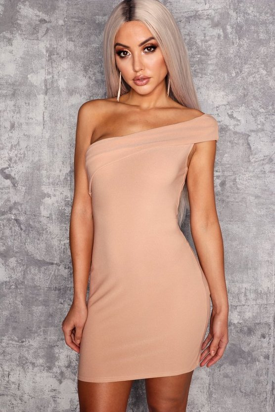 Womens Stone One Shoulder Folded Detail Bodycon Dress