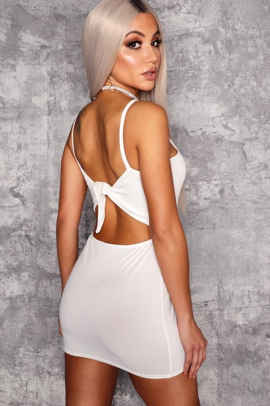 Bow Tie Back Detail Bodycon Dress