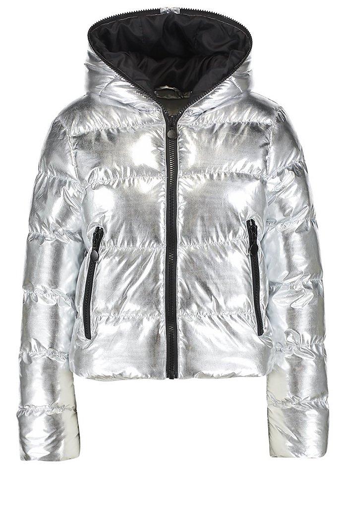 Metallic gefütterte Jacke mit Kapuze und Reißverschluss   Boohoo