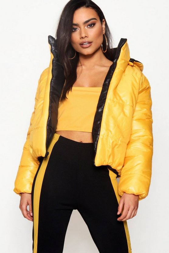 Mustard Reversible Hooded Padded Jacket