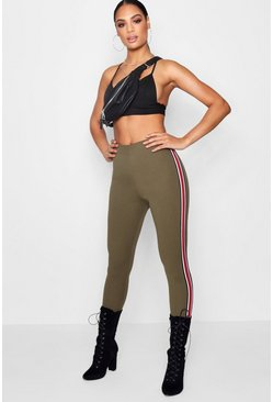 Womens Khaki Side Stripe Legging