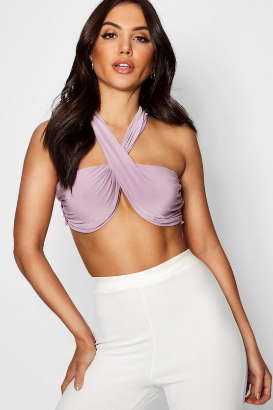 Ruched Cross Front Slinky Crop