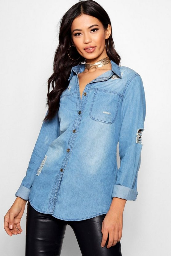 Serena Distressed Oversize Denim Shirt