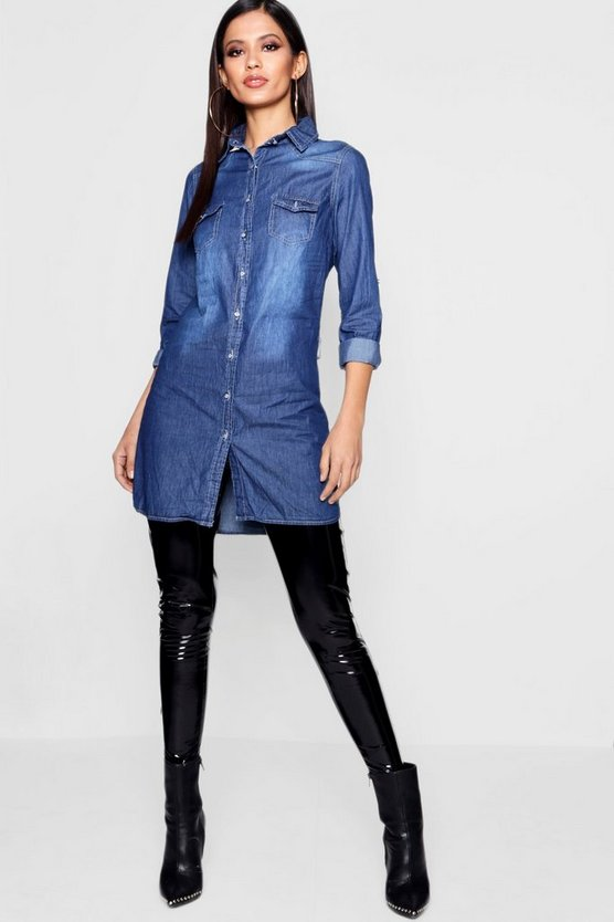 Womens Mid blue Slim Fit Long Sleeve Denim Shirt Dress