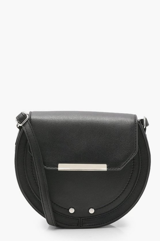 Womens Black Structured Saddle Cross Body