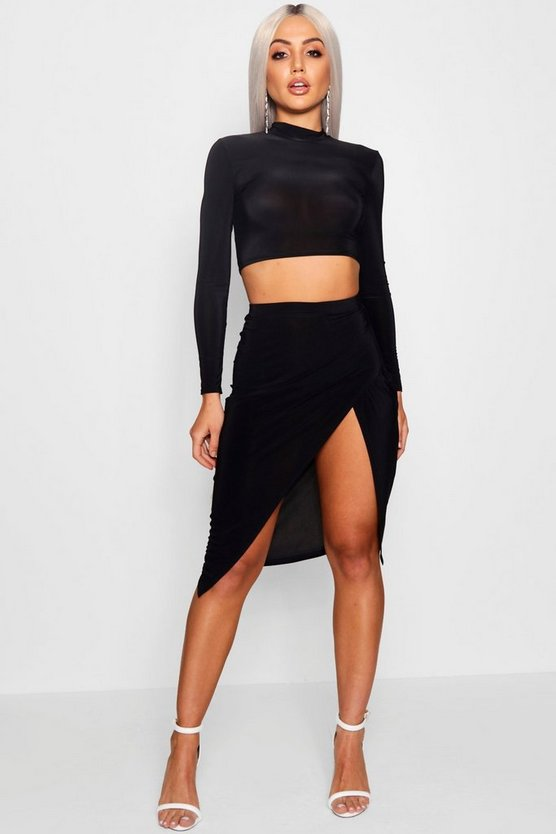 Womens Black Asymmetric Hem Midi Skirt