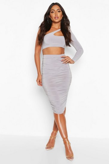 Womens Grey All Over Ruched Midi Skirt