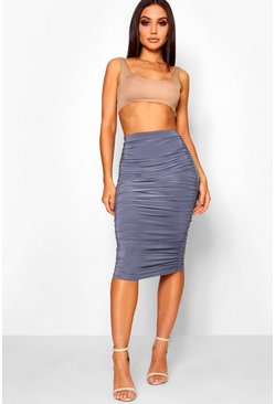 Petrol All Over Ruched Midi Skirt