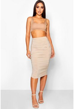 Womens Stone All Over Ruched Midi Skirt