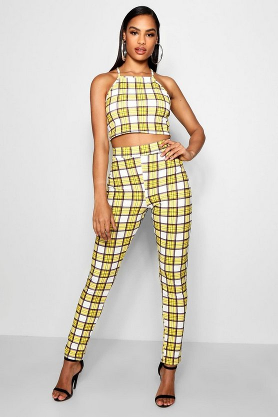 Yellow Checked Crop Top and Trouser Co-ord