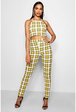Ensemble crop top et pantalon à carreaux, Jaune, Femme