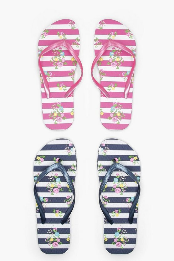 Lacey Ditsy Floral & Stripe Two Pack Flip Flops