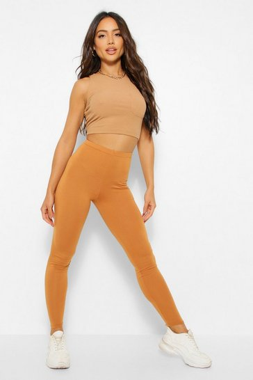 Womens Camel Basic High Waist Leggings