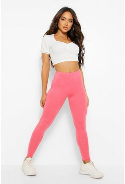 Basic high-waist Leggings, Coral blush