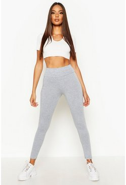 Basic high-waist Leggings, Grey marl, Damen