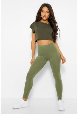 Khaki Basic Deep High Waist Leggings