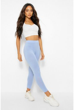 Womens Pastel blue Basic High Waist Leggings