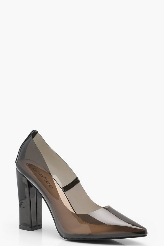 Womens Black Clear Block Heel Court Shoes