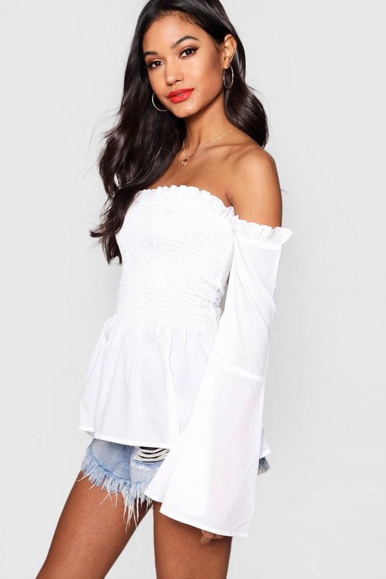 Shirred Off The Shoulder Top