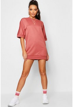 Womens Rose Oversized Loop Back Sweat Dress