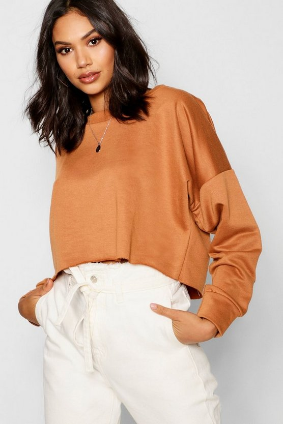 Womens Camel Raw Hem Oversized Boxy Sweat