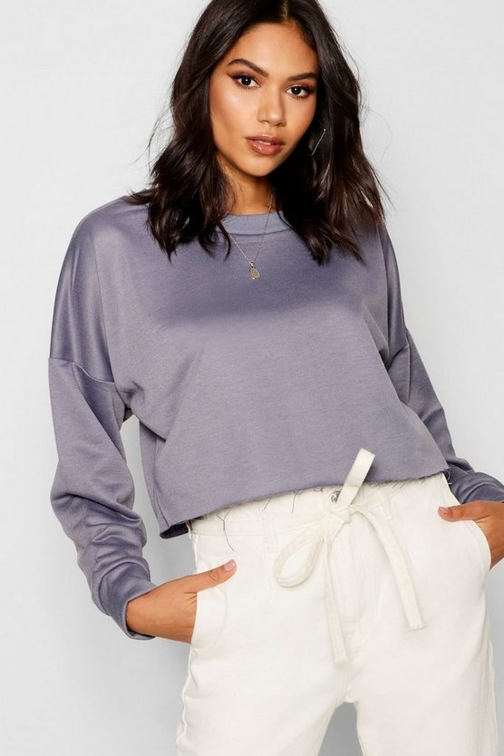 Womens Petrol Raw Hem Oversized Boxy Sweat