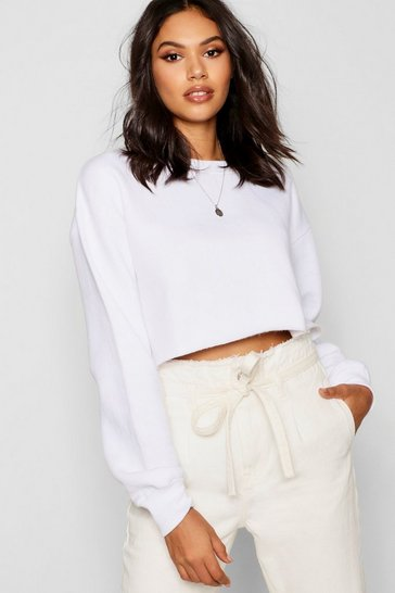 Womens White Raw Hem Oversized Boxy Sweat