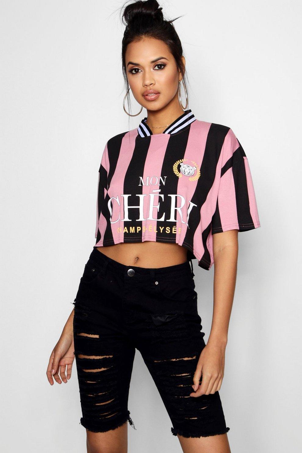 Camiseta corta de fútbol americano con diseño de rayas deportivas y eslogan 8f089827e71