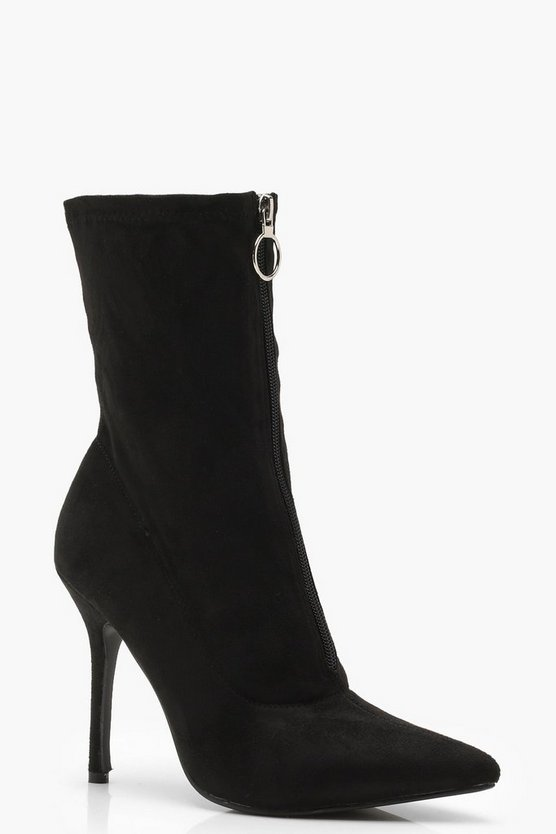 Megan Zip Front Pointed Shoe Boots