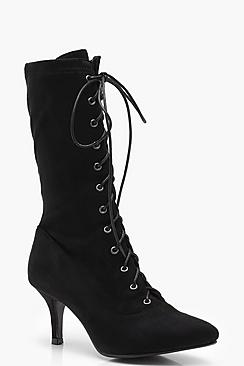 Zoe Lace Up Pointed Kitten Heel Shoe Boots