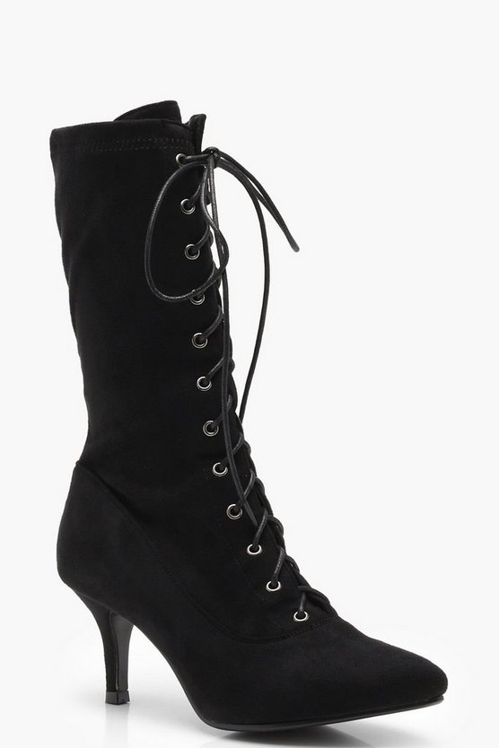 Zoe Lace Up Pointed Kitten Heel Shoe Boots
