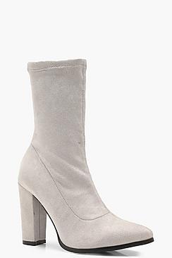 Ella Block Heel Pointed Sock Boots