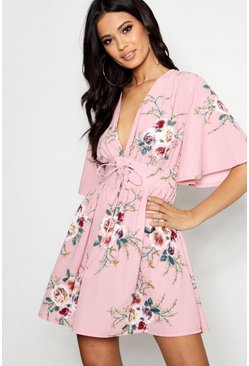 Womens Powder pink Lace Up Front Angel Sleeve Skater Dress