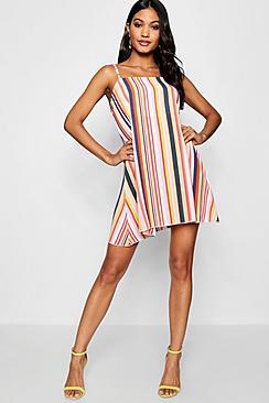 Square Neck Strappy Striped Cami Dress